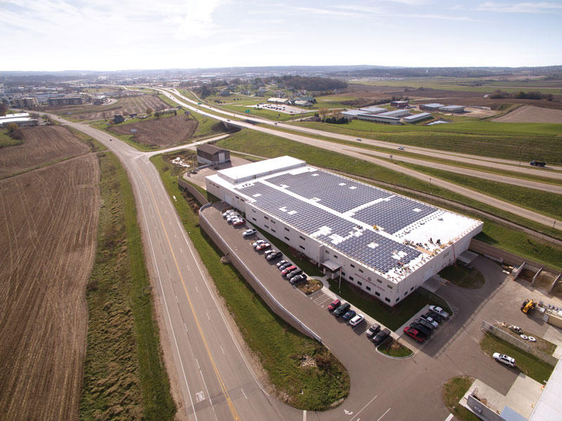 MGE's Shared Solar installation is on top of the City of Middleton's new operations center.