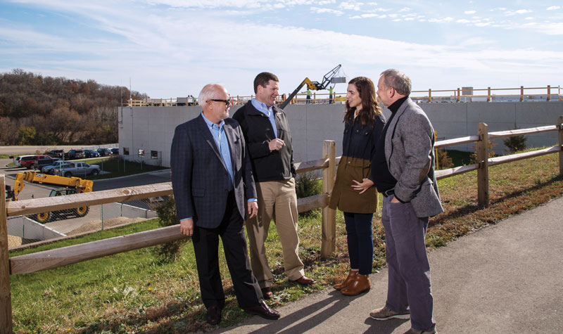 Meeting during the solar construction on top of the Middleton Operations Center