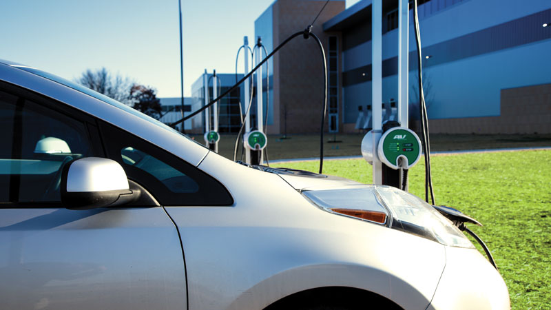 Global lighting technology company ETC worked with MGE to offer electric vehicle charging stations for employees as part of the company's commitment to sustainable practices