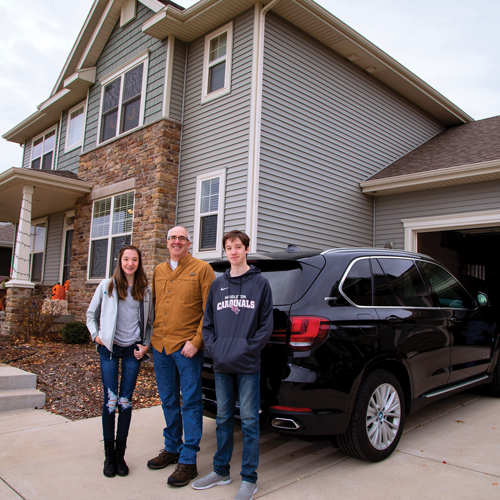 The Davey family of Middleton participates in MGE's Shared Solar program, powering their home and plug-in hybrid electric vehicle with clean energy generated in their community.