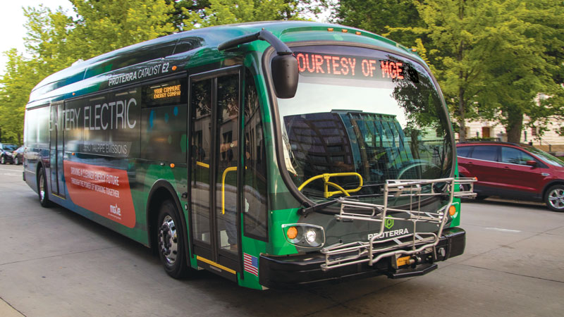 MGE helped the City of Madison secure three all-electric buses like this one as part of ongoing efforts to electrify 50% of the City's bus fleet by 2035.