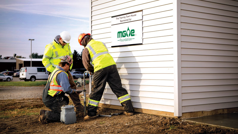 Students in the Gas Utility Technician Program at Moraine Park Technical College get hands-on training in an outdoor