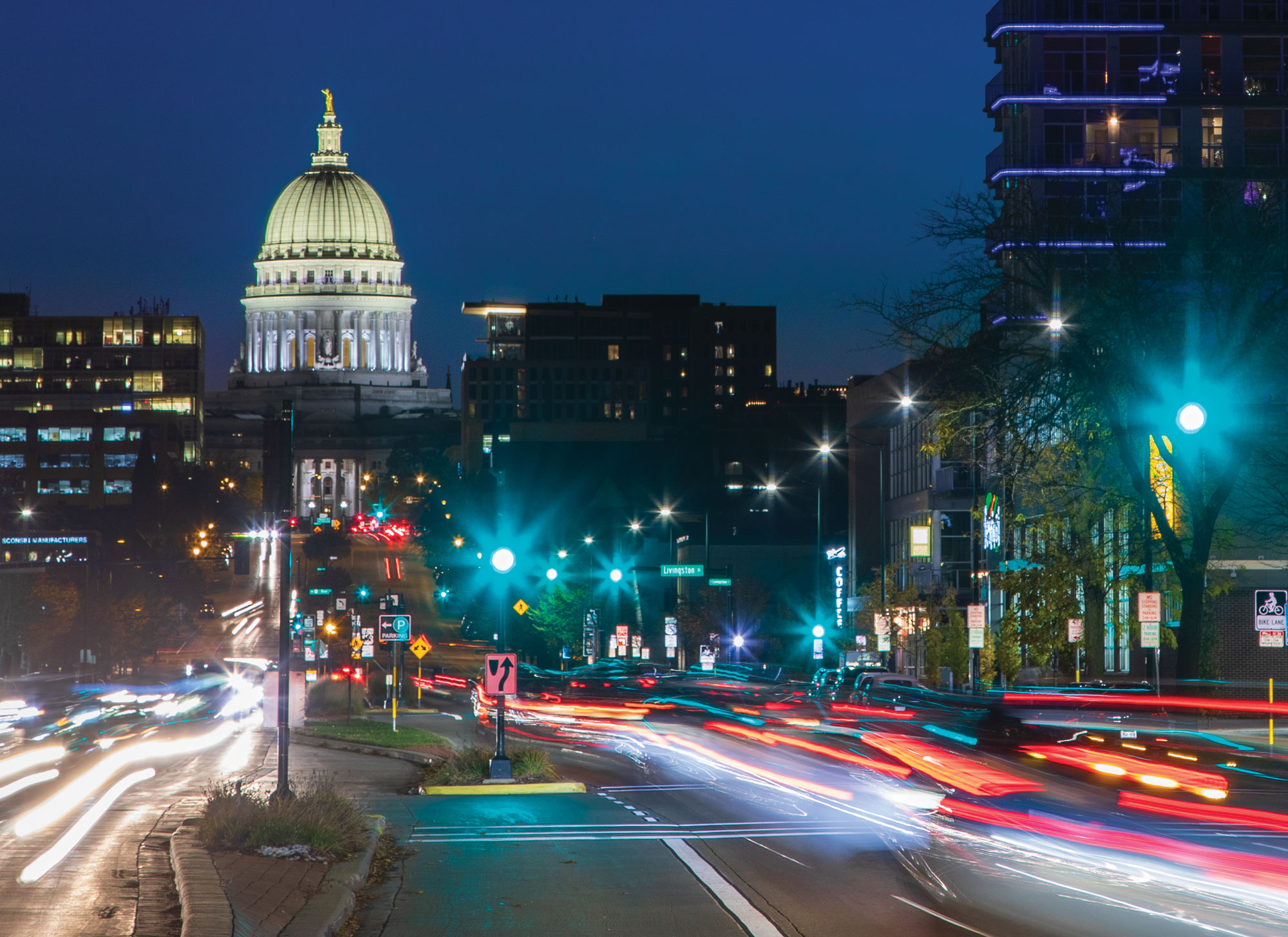Night scene of downtown Madison