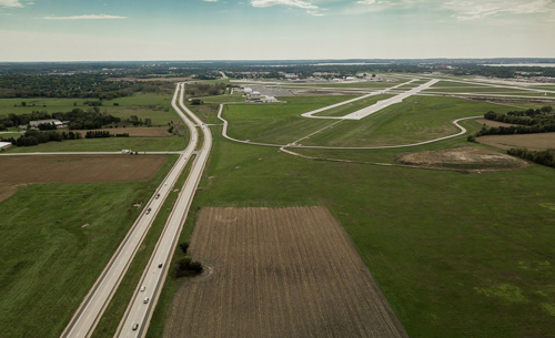 Site of anticipated solar project near Dane County Regional Airport in Madison, Wis.
