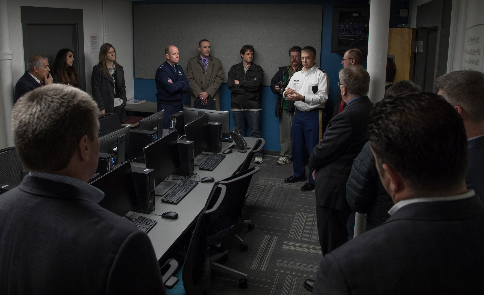 Partners in the Dark Sky exercise toured MGE's Cyber Range, a virtual environment that served as one