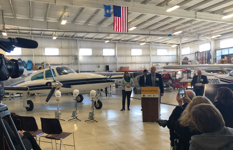 Chairman, President and CEO Jeff Keebler addresses attendees at Middleton Municipal Airport.