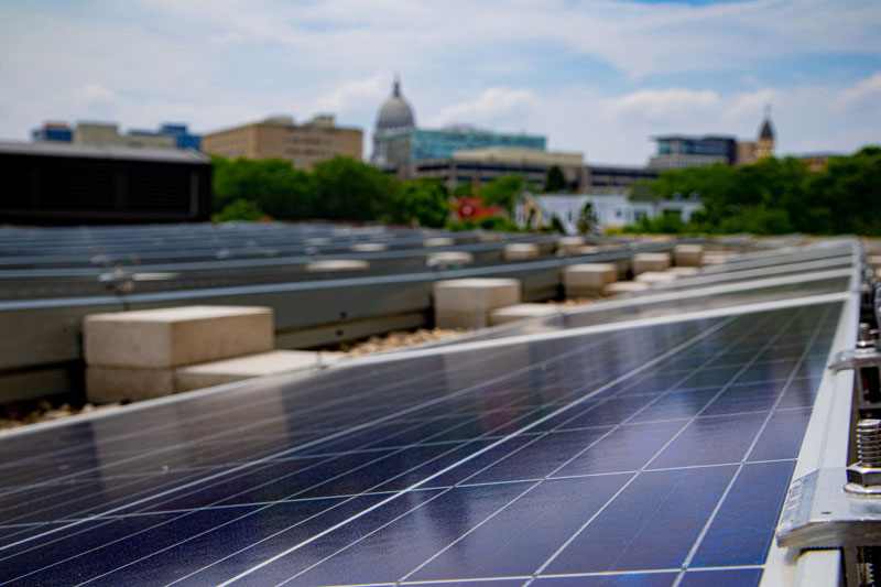 Rooftop solar helps meet MGE's energy needs at its office facility in downtown Madison, Wis.